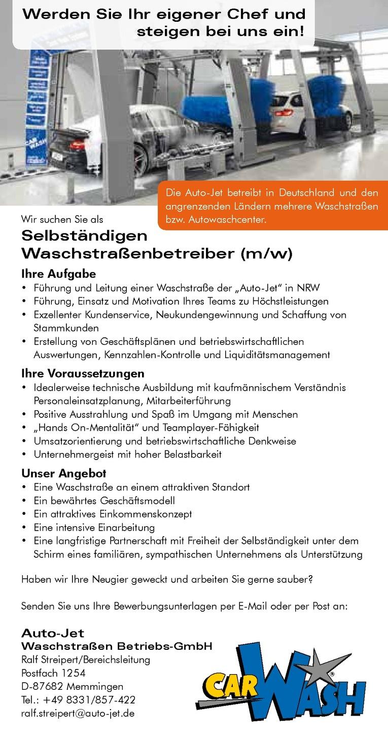 Selbständigen Waschstraßenbetreiber (m/w)