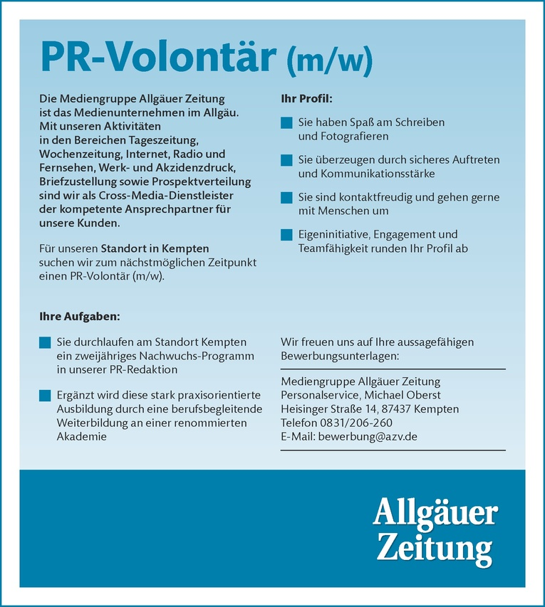 PR-Volontär (m/w)