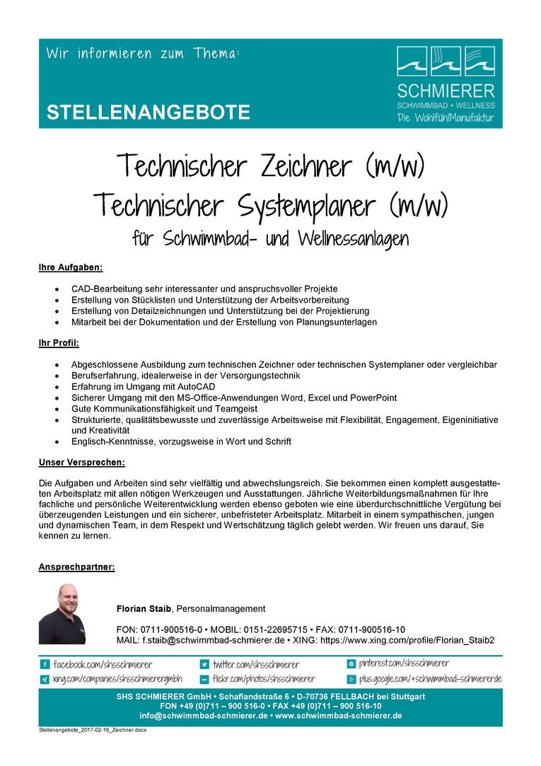 Technischer Zeichner / Technischer Systemplaner (m/w)