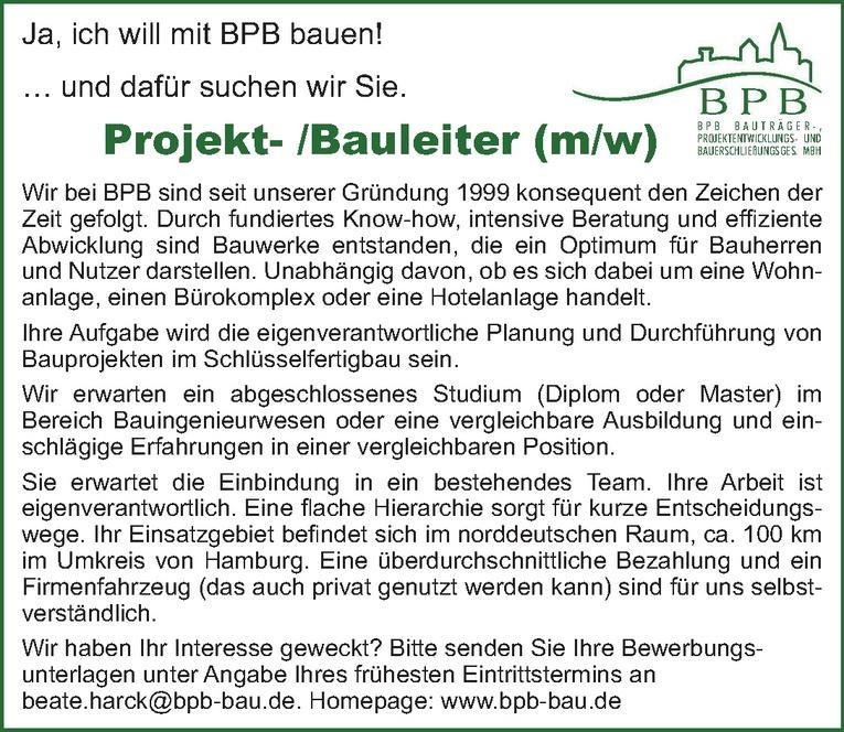 Projekt-/Bauleiter (m/w)