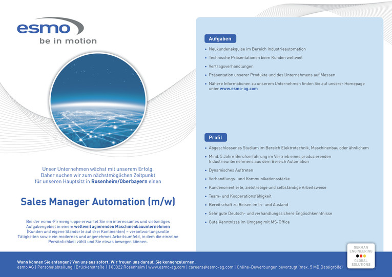 Sales Manager Automation (m/w)