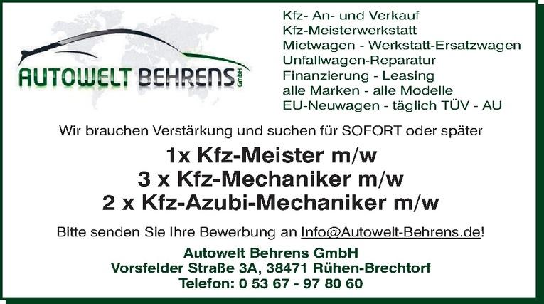 Ausbildung: Kfz-Mechaniker (m/w)