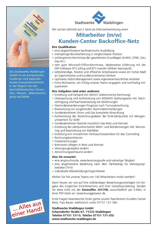 Mitarbeiter Kunden-Center Backoffice Netz (m/w)