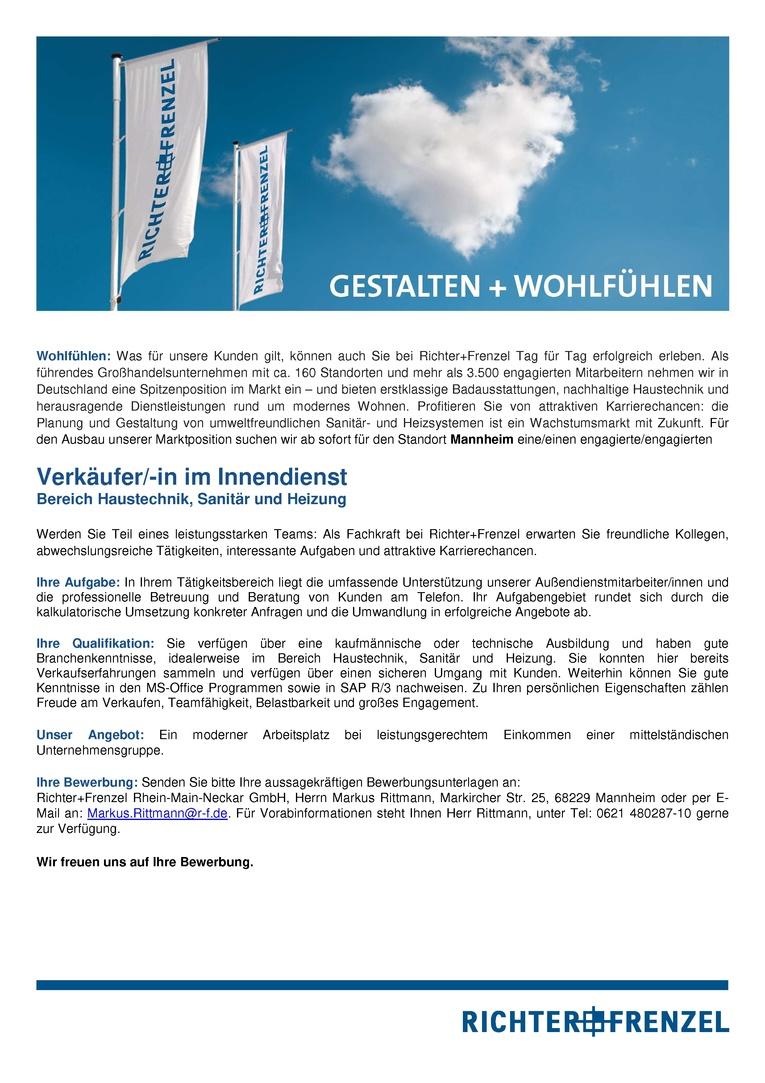 Verkäufer/-in im Innendienst Bereich Haustechnik, Sanitär und Heizung