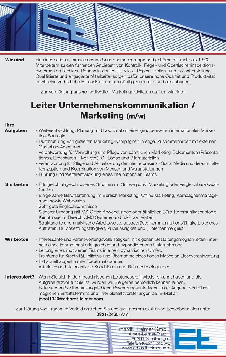 Leiter Unternehmenskommunikation / Marketing (m/w)