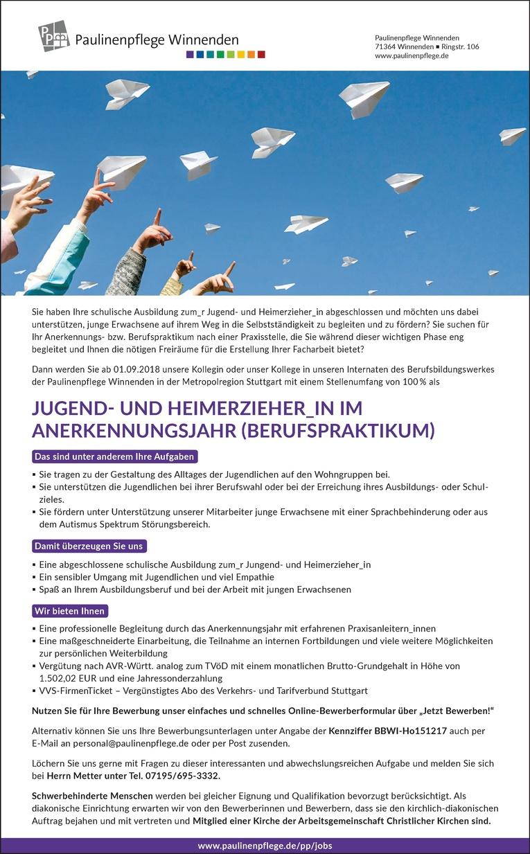 Jugend- und Heimerzieher_in im Anerkennungsjahr (Berufspraktikum)
