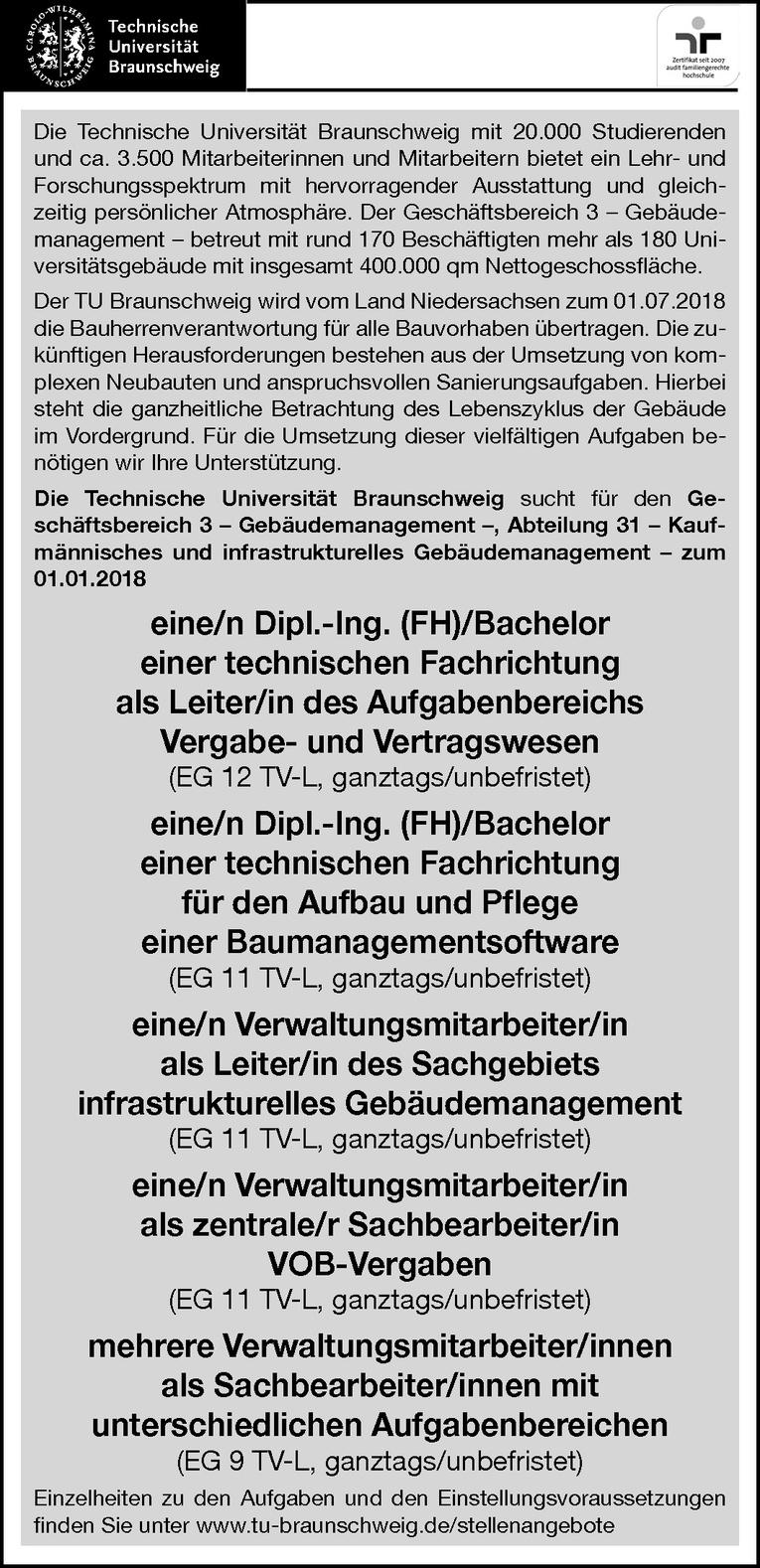 Leiter des Aufgabenbereichs Vergabe- und Vertragswesen (mw/)