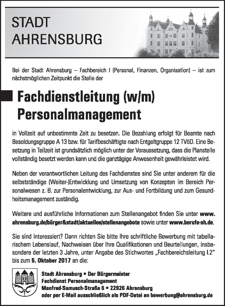 Fachdienstleitung (w/m) Personalmanagement