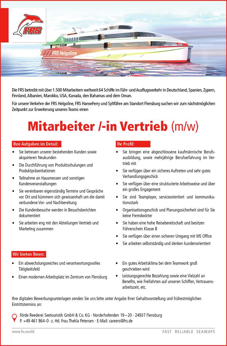 Mitarbeiter /-in Vertrieb (m/w)