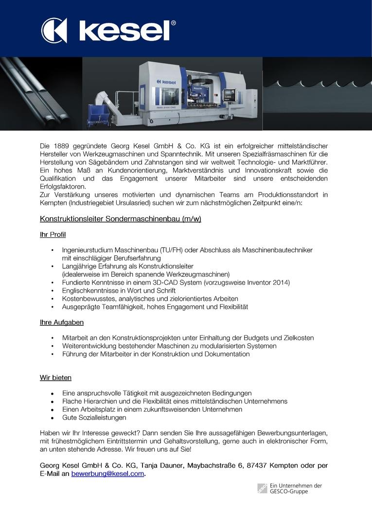 Konstruktionsleiter Sondermaschinenbau (m/w)