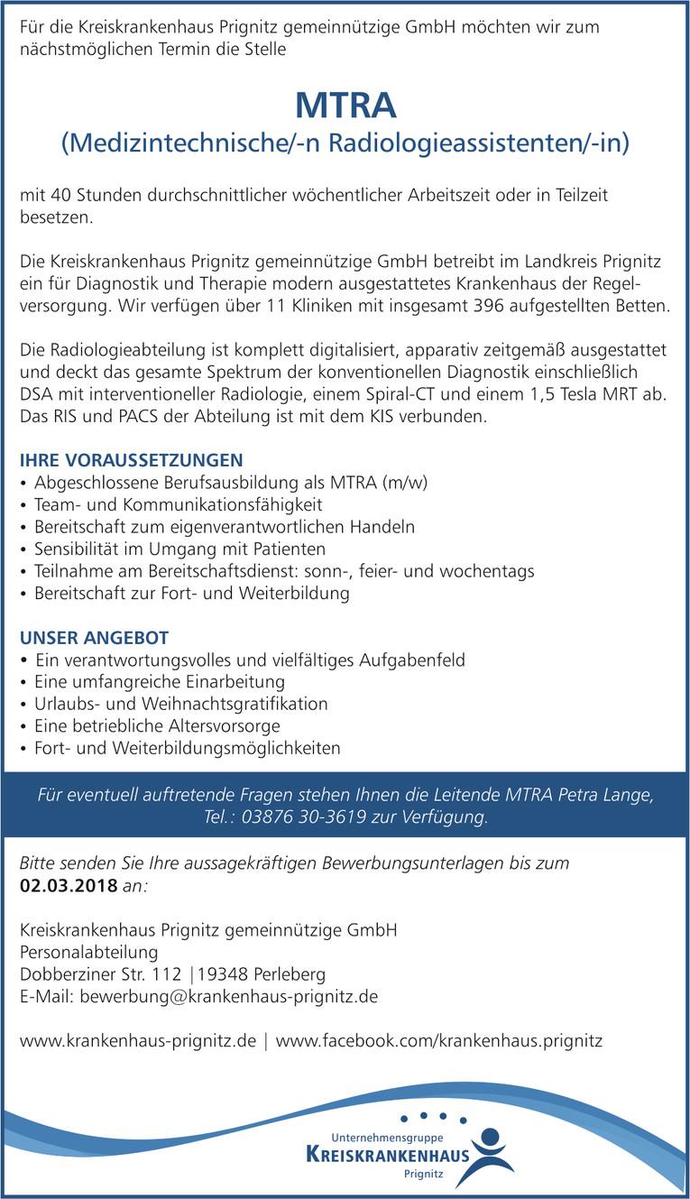Medizintechnischer Radiologieassistent (m/w) - MTRA gesucht