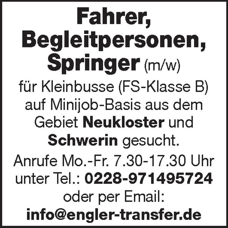 Fahrer / Begleitpersonen / Springer (m/w)