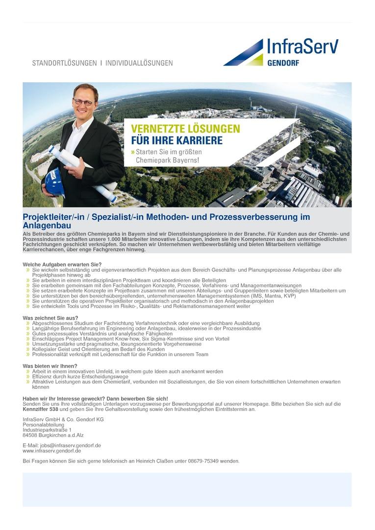 Projektleiter/-in / Spezialist/-in Methoden- und Prozessverbesserung im Anlagenbau