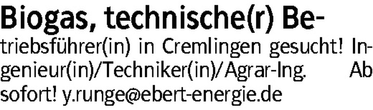 Biogas, technischer Betriebsführer (m/w)