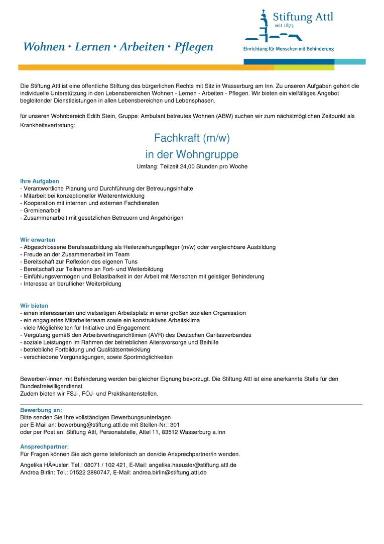 Fachkraft für ambulant betreutes Wohnen (m/w) in Teilzeit 24,0 Stunden, befristet als Krankheitsvertretung - Stellen-Nr. 301