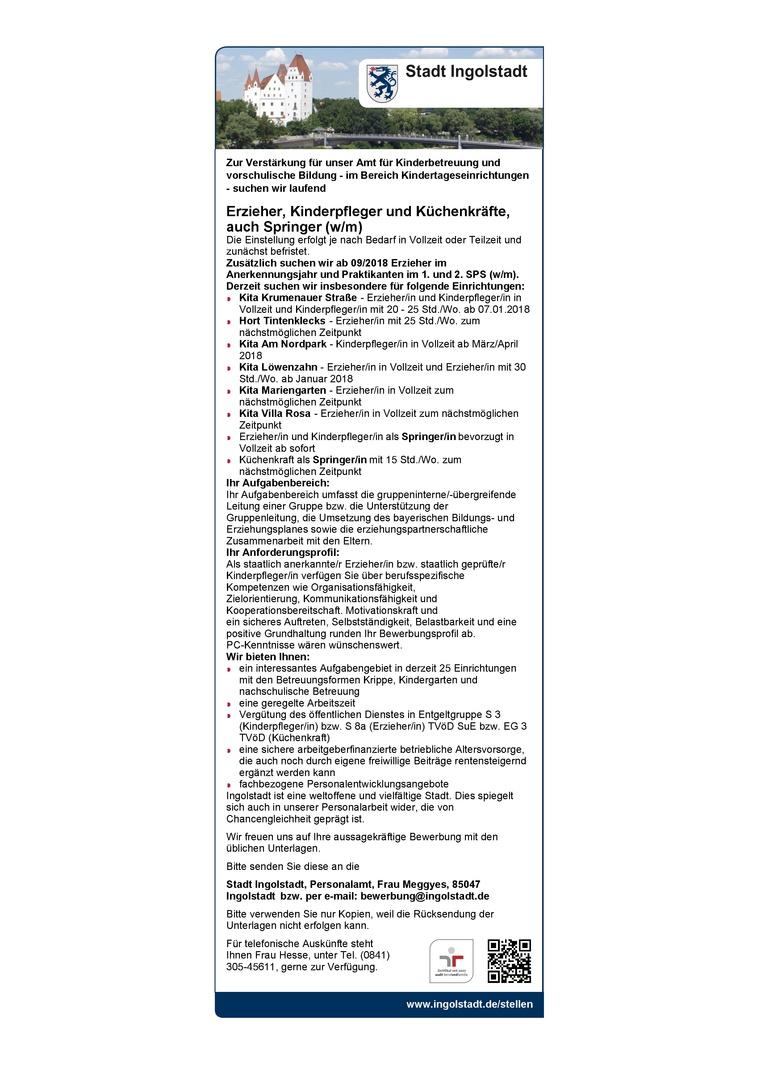 Erzieher, Kinderpfleger und Küchenkräfte, auch Springer (w/m)