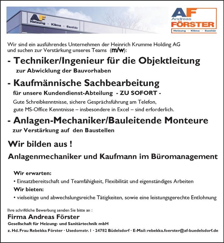 Techniker/Ingenieur für die Objektleitung (m/w)