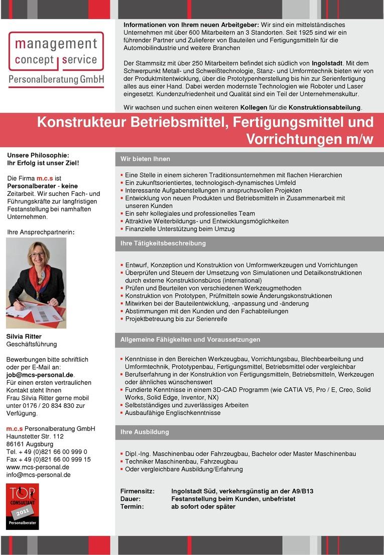 Konstrukteur Betriebsmittel, Fertigungsmittel und Vorrichtungen m/w