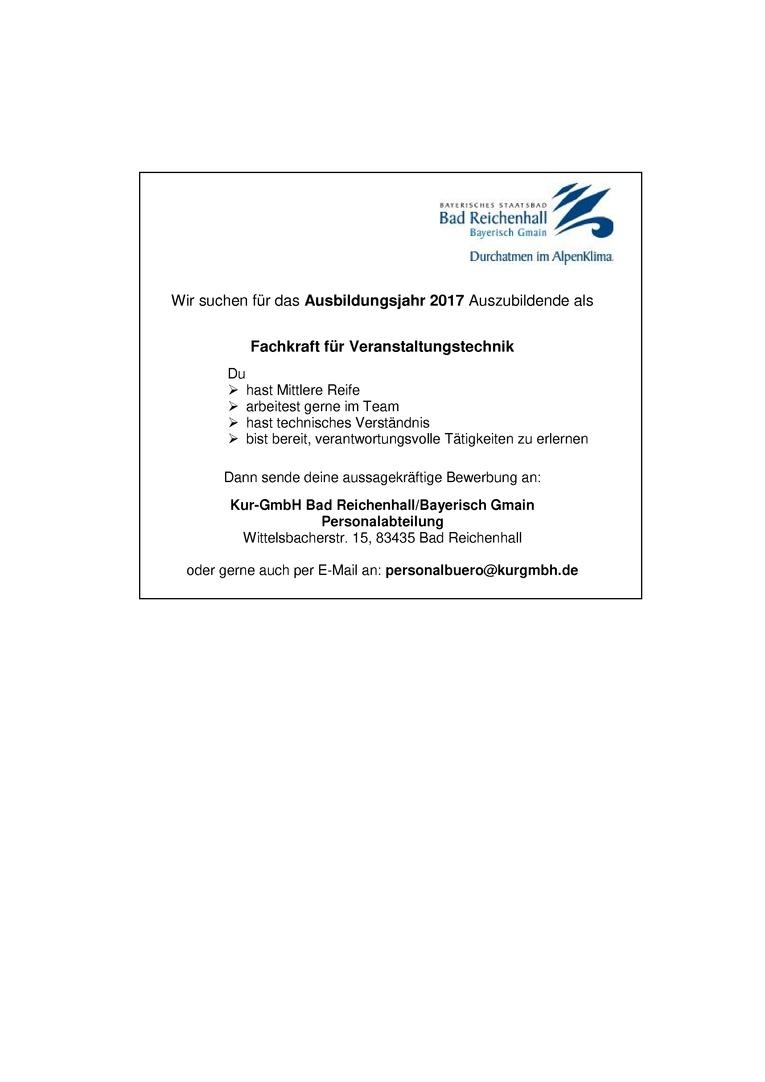 Auszubildende - Veranstaltungstechniker/in für das Ausbildungsjahr 2017
