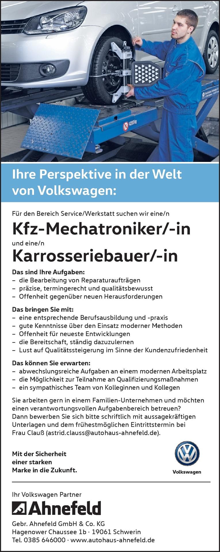 Kfz-Mechatroniker/-in und eine/n Karrosseriebauer/-in