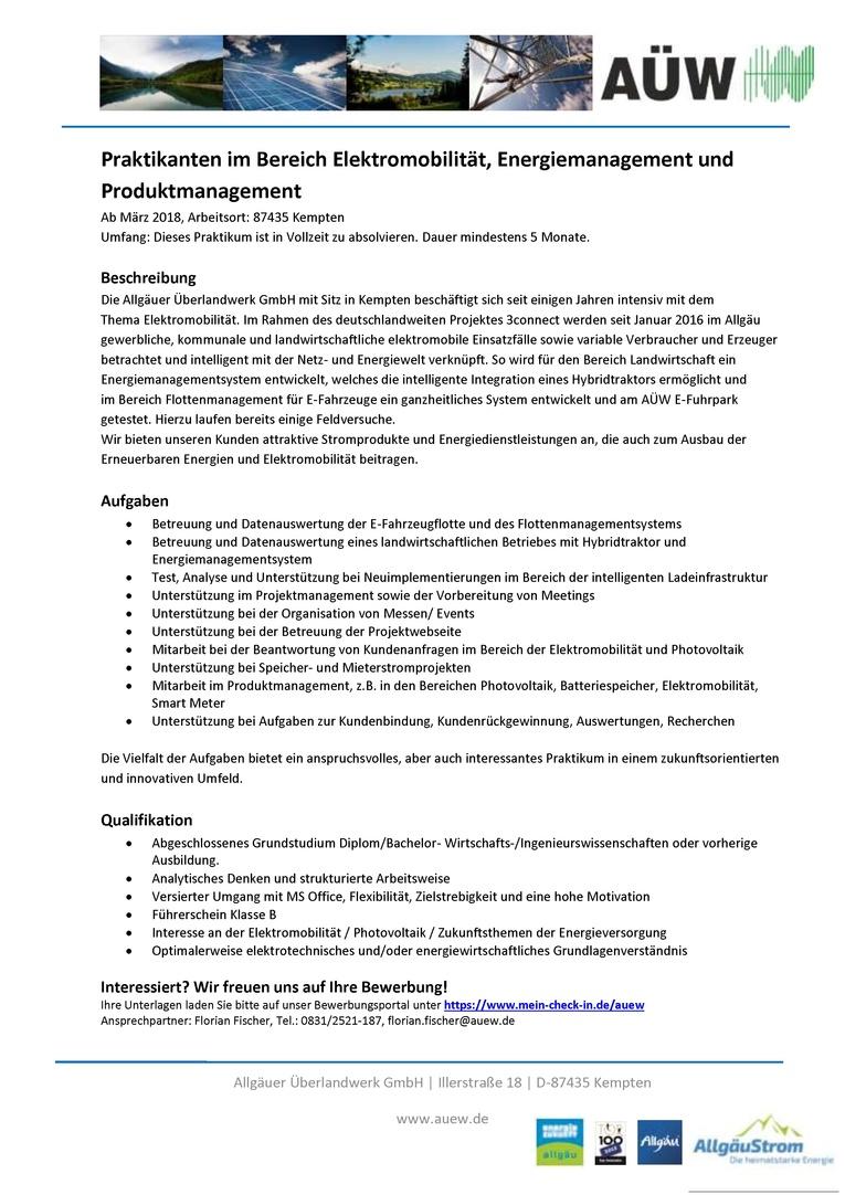 Praktikant/-in Elektromobilität, Energiemanagement und Produktmanagement