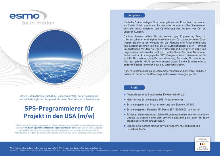 SPS-Programmierer für Projekt in den USA (m/w)