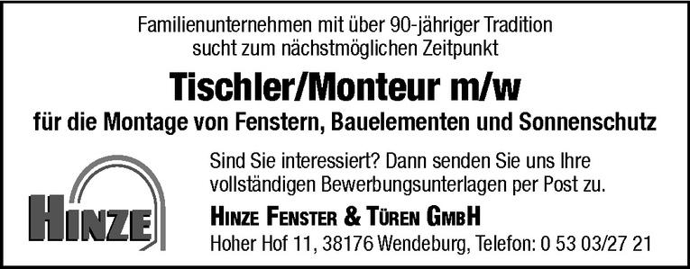 Tischler / Monteur (m/w)