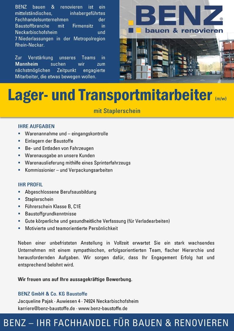 Lager- und Transportmitarbeiter (m/w)