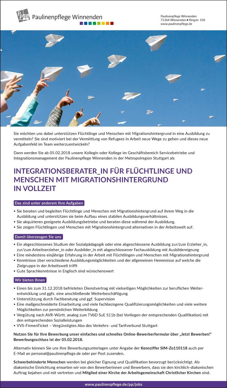 Integrationsberater_in für Flüchtlinge und Menschen mit Migrationshintergrund in Vollzeit