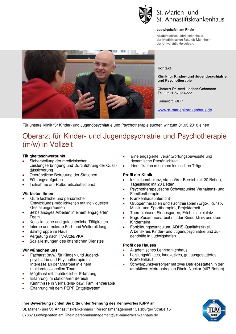 Oberarzt für Kinder- und Jugendpsychiatrie und Psychotherapie (m/w) in Vollzeit