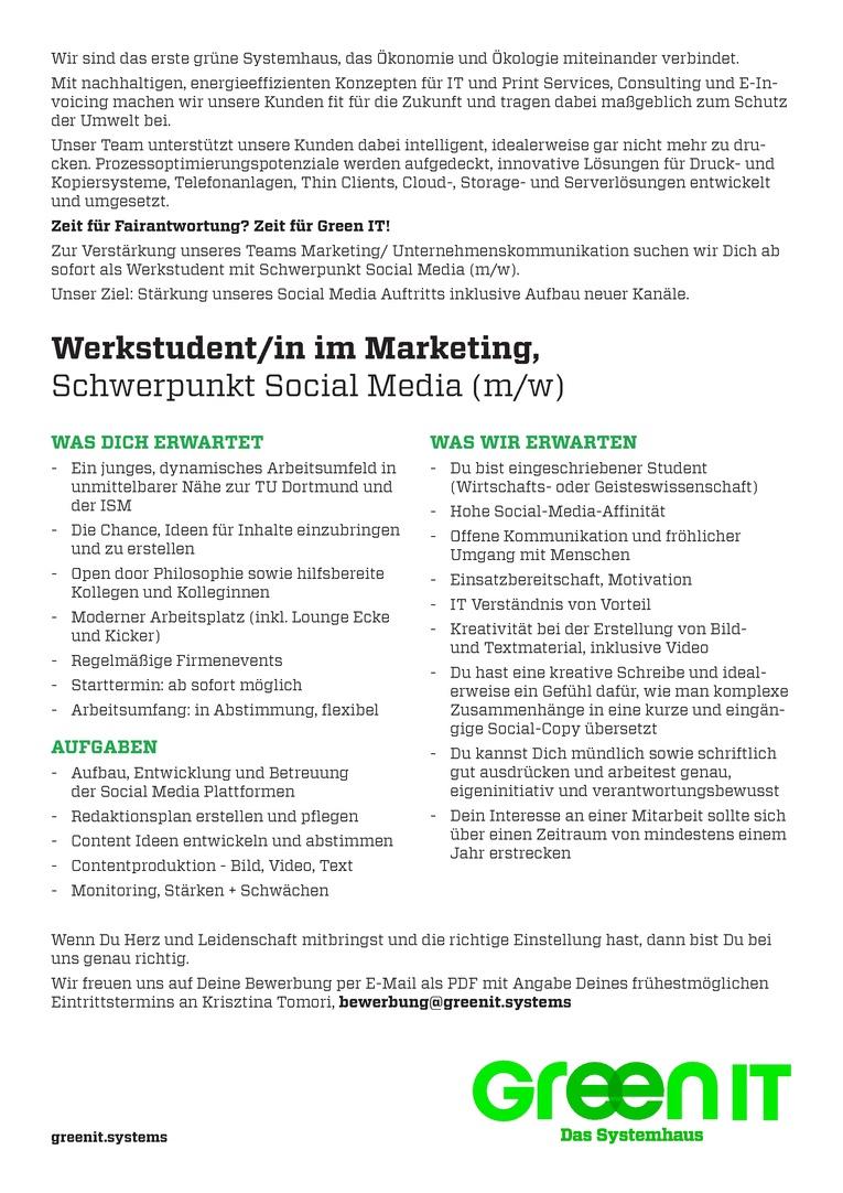 Werkstudent/ in im Marketing, Schwerpunkt Social Media
