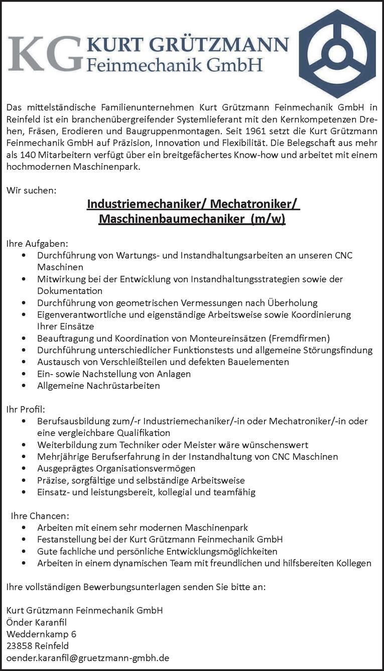 Industriemechaniker/ Mechatroniker/Maschinenbaumechaniker (m/w)