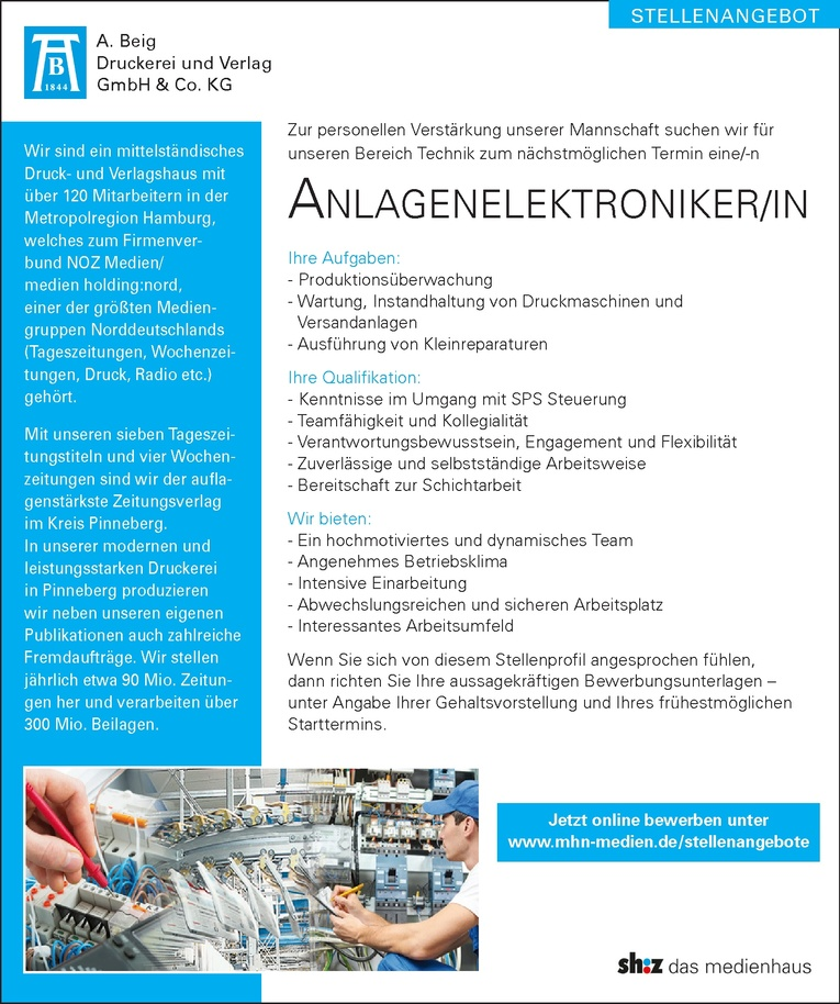 Anlagenelektroniker/IN