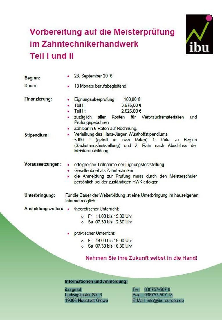 Vorbereitung auf die Meisterprüfung im Zahntechnikerhandwerk Teil I und II