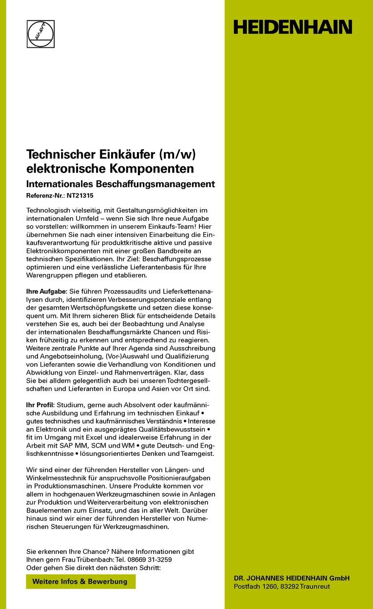 Technischer Einkäufer (m/w) elektronische Komponenten