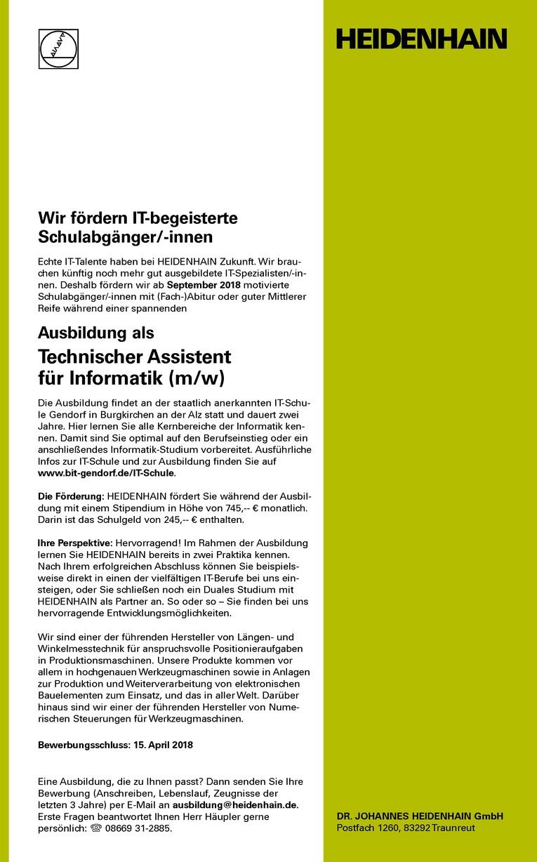 Ausbildung als Technischer Assistent für Informatik (m/w)