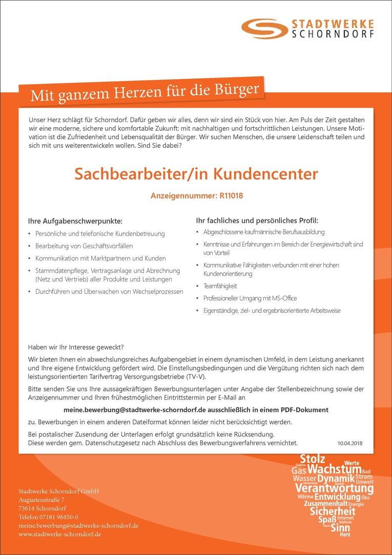 Sachbearbeiter/in Kundencenter R11018