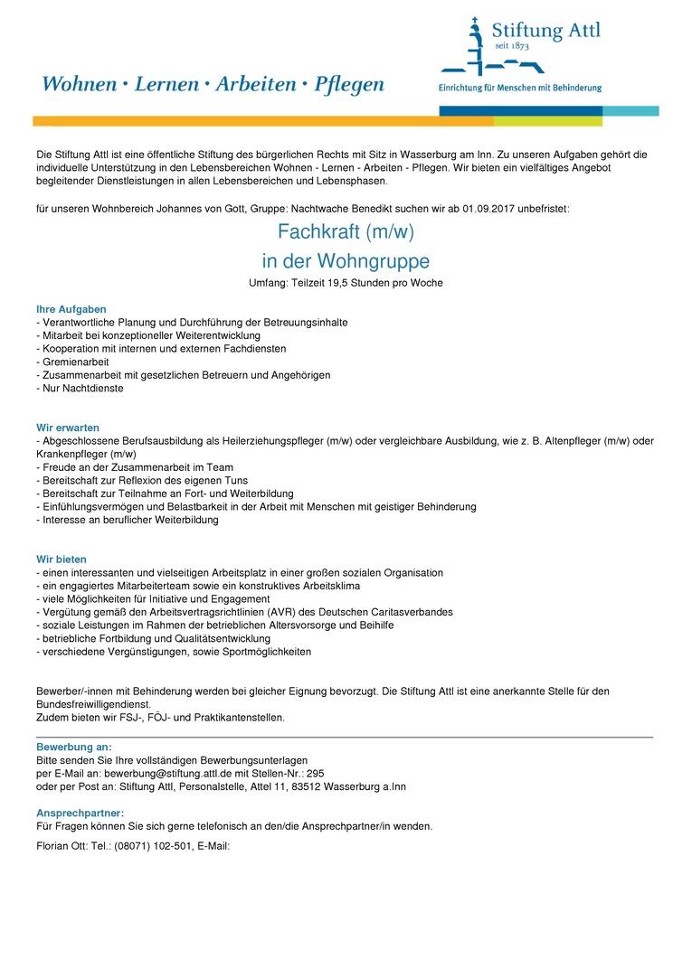 Fachkraft in der Wohngruppe (m/w) in Teilzeit 19,5 Stunden, unbefristet - Stellen-Nr. 295
