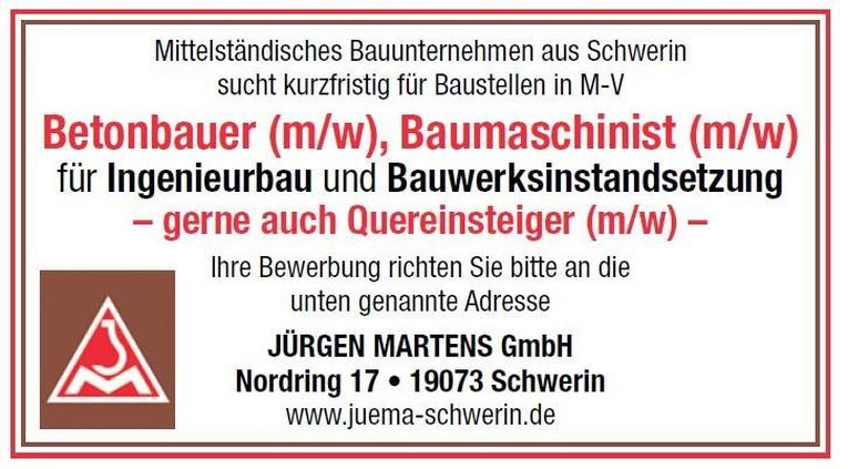 Betonbauer (m/w), Baumaschinist (m/w)