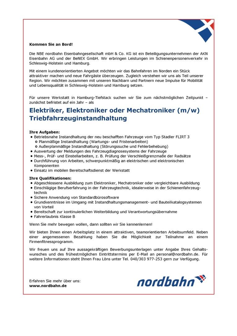 Elektriker/Elektroniker oder Mechatroniker (m/w) Triebfahrzeuginstandhaltung