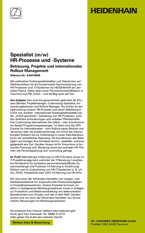 Spezialist (m/w) HR-Prozesse und -Systeme