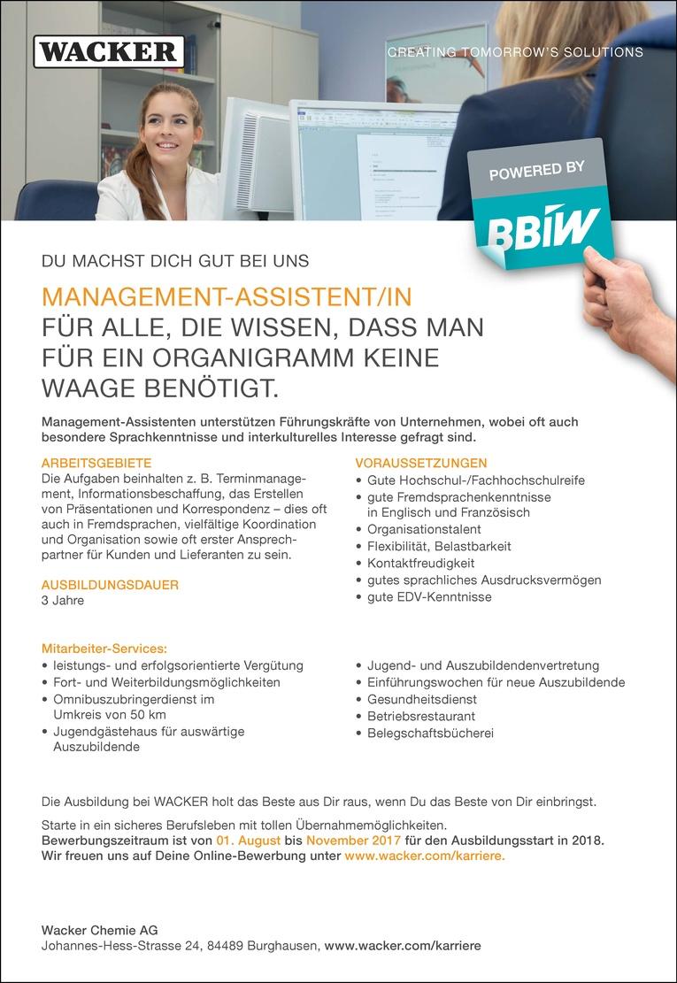Ausbildung als Management-Assistent/in