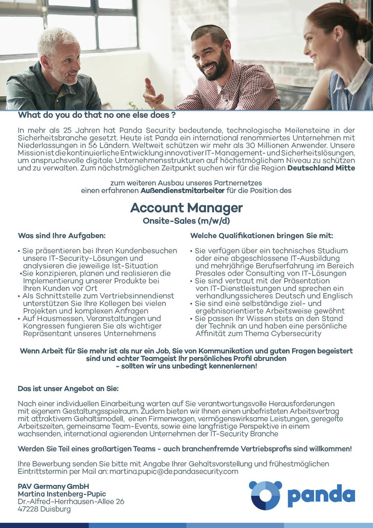 Job Account Manager Onsite Sales