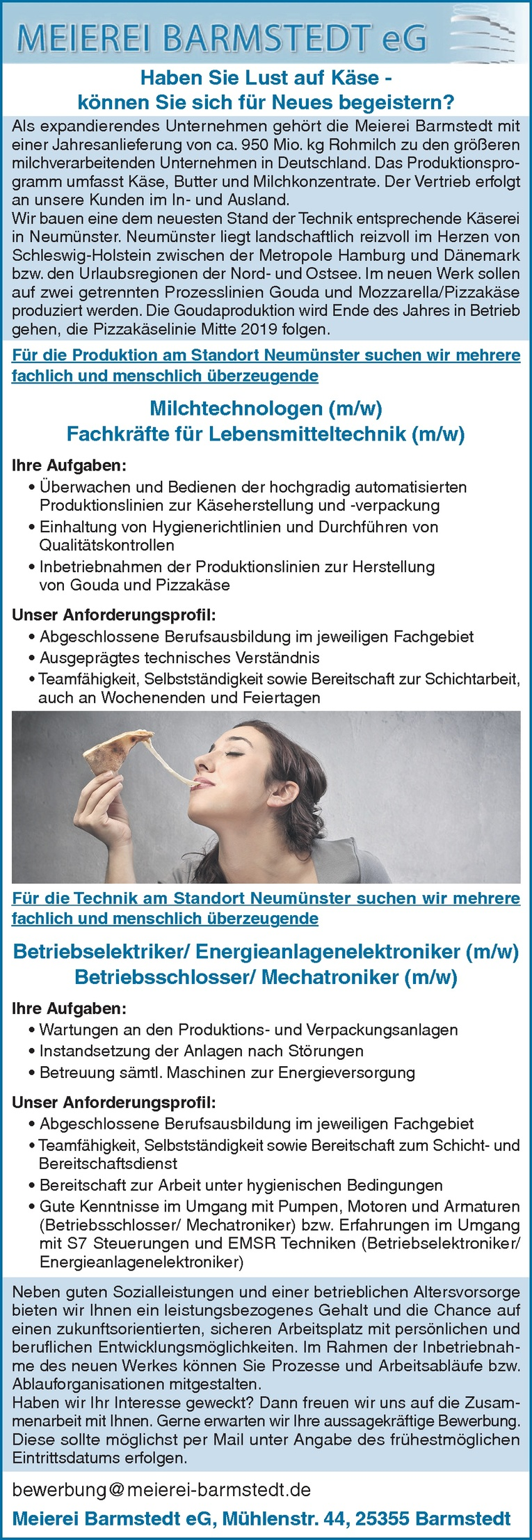 Fachkräfte für Lebensmitteltechnik (m/w)