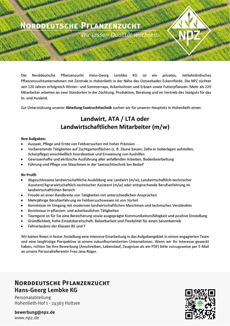 Landwirt, Agrarwirtschaftlich-/Landwirtschaftlich-technischer Assistent (ATA/LTA) oder Landwirtschaftlicher Mitarbeiter (m/w) für die Saatzuchttechnik
