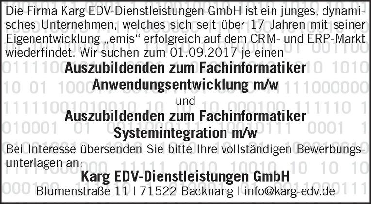 Auszubildenden zum Fachinformatiker Anwendungsentwicklung m/w und Auszubildenden zum Fachinformatiker Systemintegration m/w