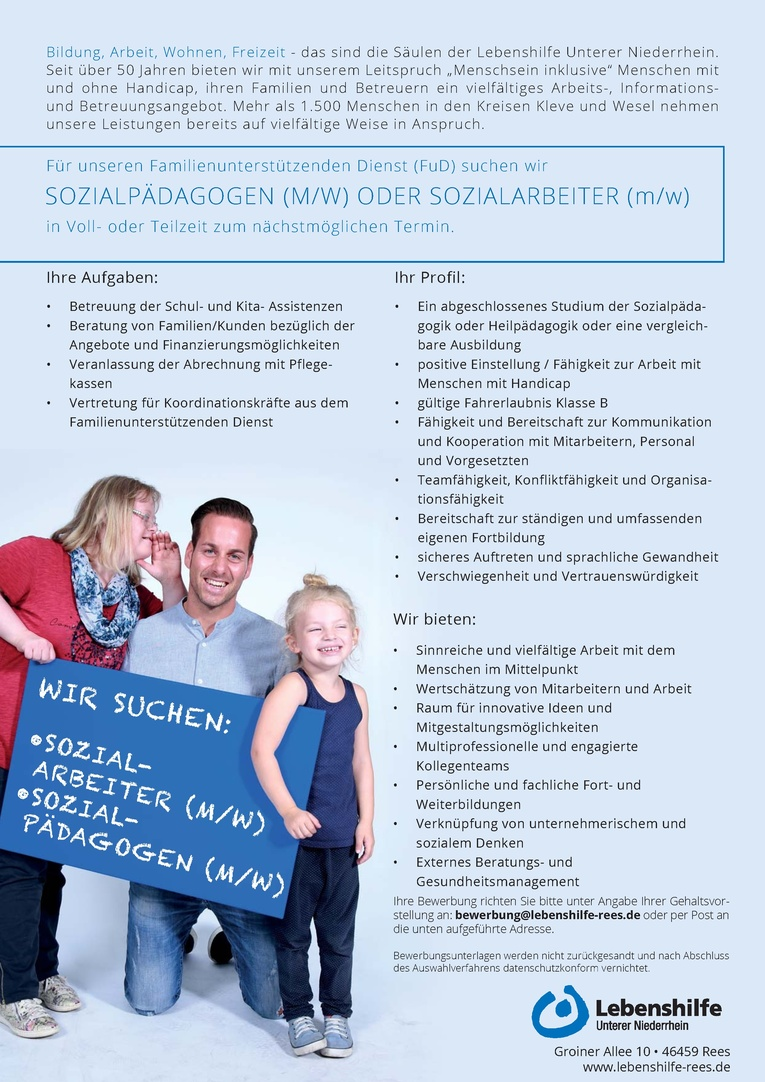 Sozialpädagogen  (m/w) oder Sozialarbeiter (m/w)