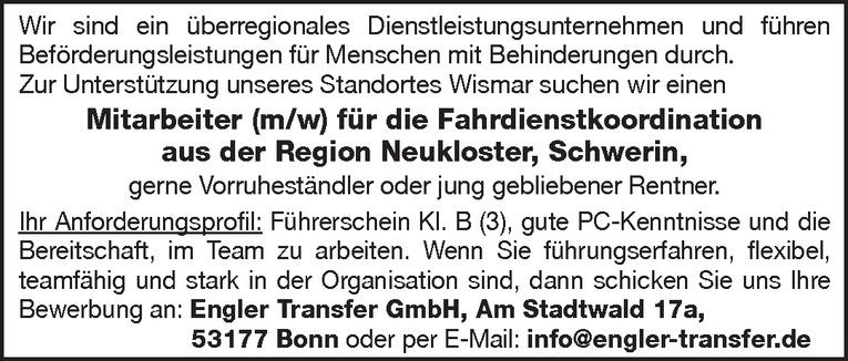 Mitarbeiter (m/w) für die Fahrdienstkoordination