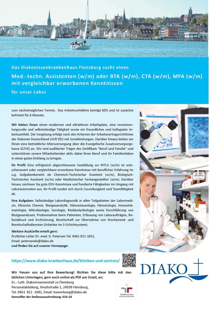 Med.-techn. Assistenten (w/m) oder BTA (w/m), CTA (w/m), MFA (w/m) mit vergleichbar erworbenen Kenntnissen