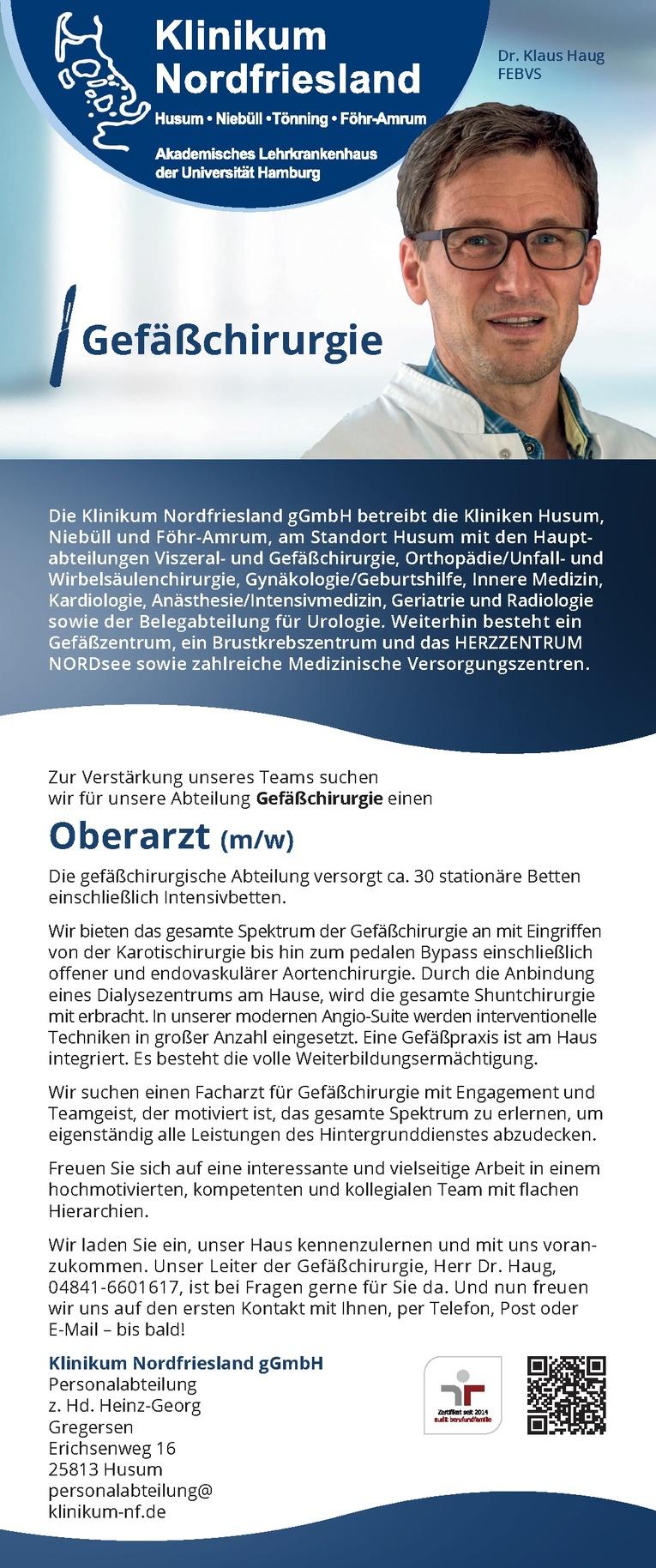 Oberarzt/ärztin für Gefäßchirurgie